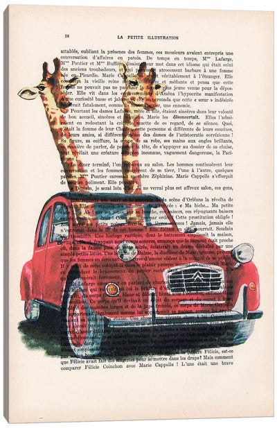 Giraffes In French Red Car Canvas Art Print