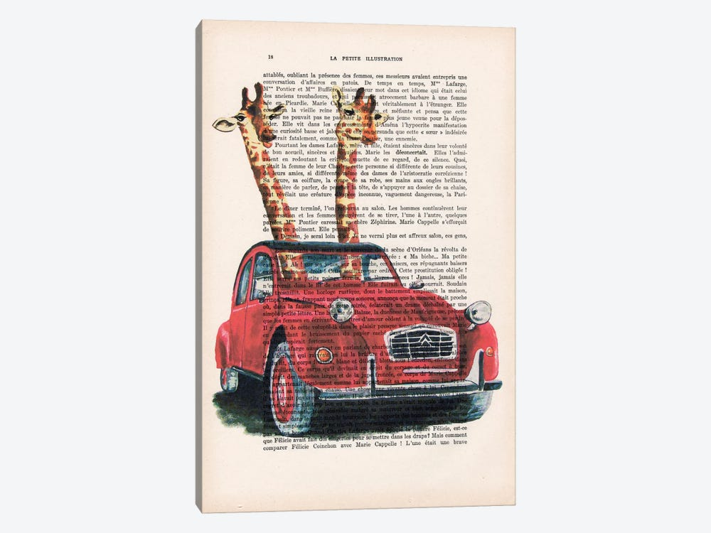 Giraffes In French Red Car by Coco de Paris 1-piece Canvas Art
