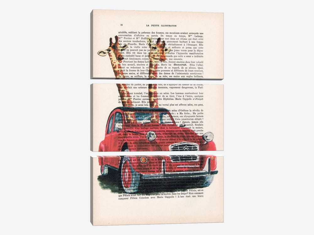 Giraffes In French Red Car by Coco de Paris 3-piece Canvas Artwork