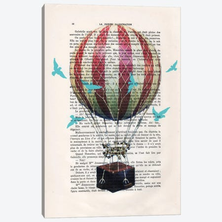 Hot Air Balloon With Blue Birds Canvas Print #COC107} by Coco de Paris Canvas Wall Art