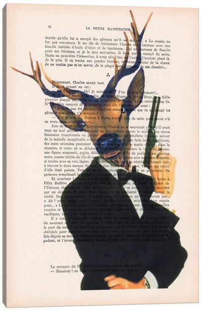 Vintage Paper Series: James Bond Deer Canvas Print #COC108
