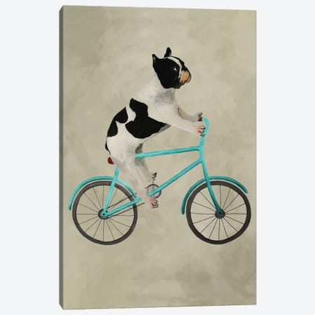 Bulldog On Bicycle Canvas Print #COC10} by Coco de Paris Art Print