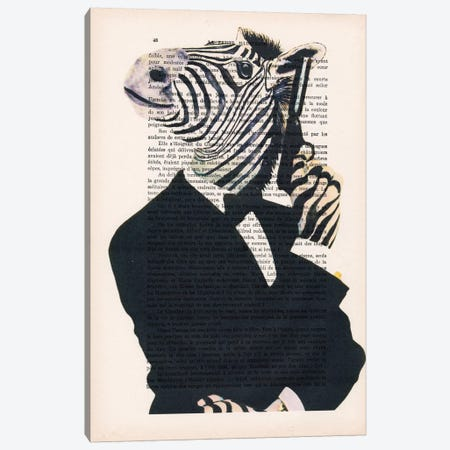 James Bond Zebra II, Text Canvas Print #COC110} by Coco de paris Canvas Art