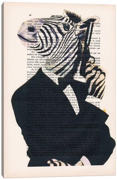 Vintage Paper Series: James Bond Zebra Canvas Print #COC110