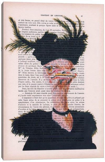 Vintage Paper Series: Jet-set Ostrich Canvas Print #COC111