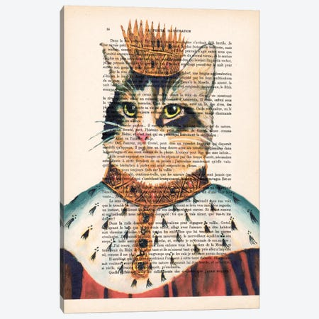 King Cat Canvas Print #COC112} by Coco de paris Canvas Artwork