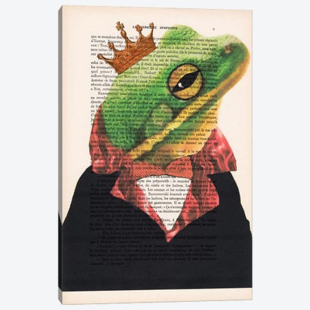 King Frog Canvas Print #COC113} by Coco de paris Canvas Wall Art