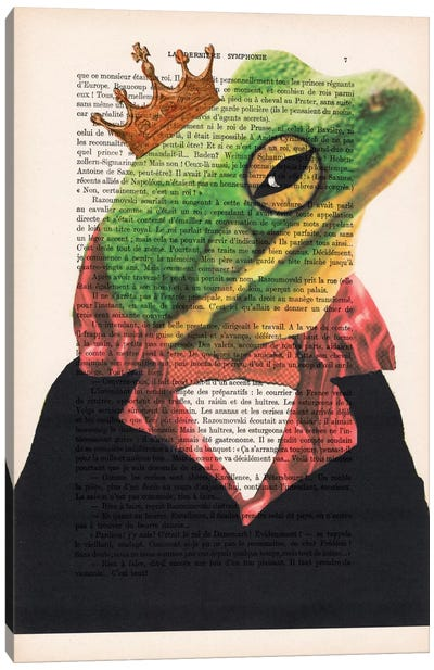 Vintage Paper Series: King Frog Canvas Art Print