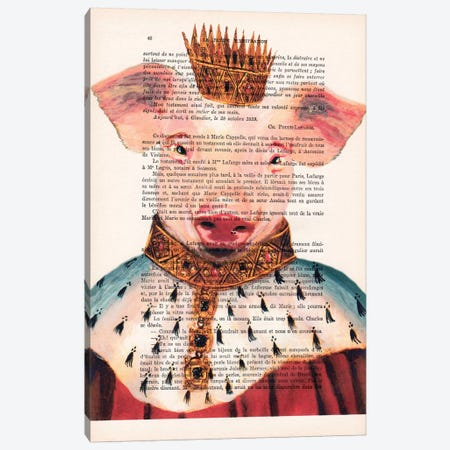 King Pig Canvas Print #COC114} by Coco de paris Canvas Print