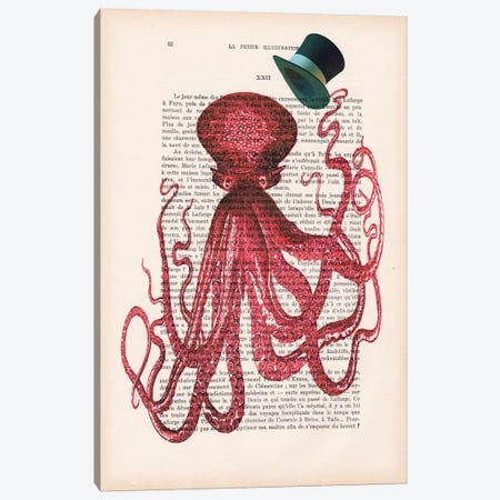 Octopus With Hat Canvas Print #COC119} by Coco de Paris Canvas Artwork