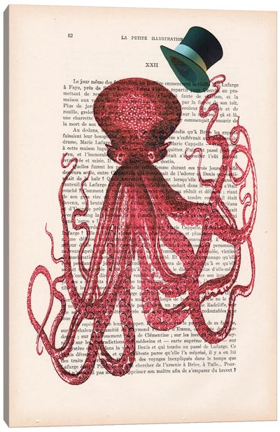Vintage Paper Series: Octopus With Hat Canvas Print #COC119