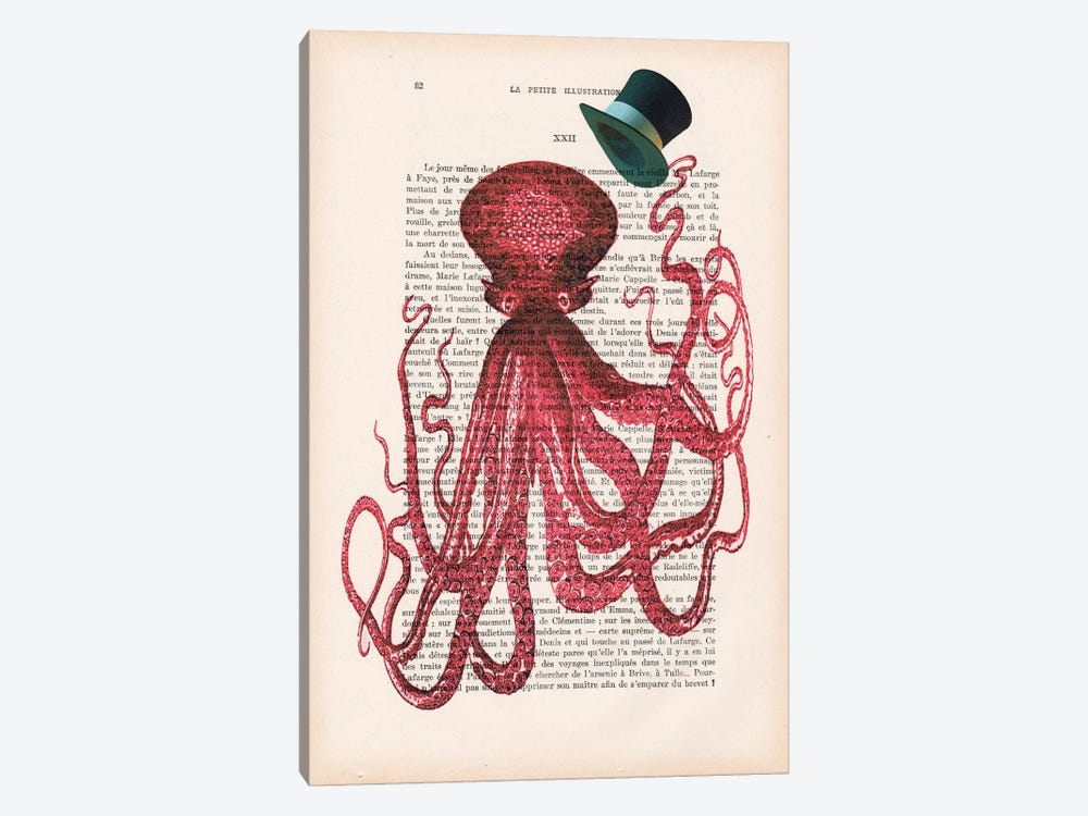 Octopus With Hat by Coco de paris 1-piece Canvas Wall Art