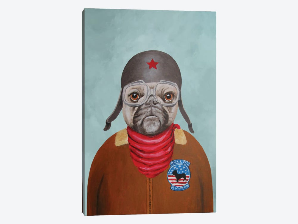 Bulldog Pilot 1-piece Canvas Art
