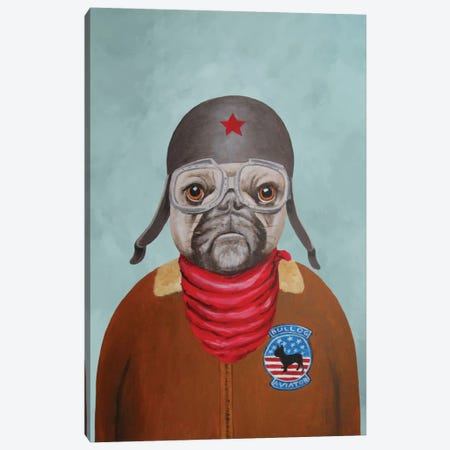 Bulldog Pilot Canvas Print #COC11} by Coco de Paris Canvas Art Print
