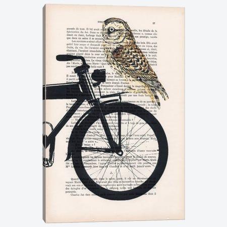 Owl On Bicycle Canvas Print #COC120} by Coco de Paris Art Print