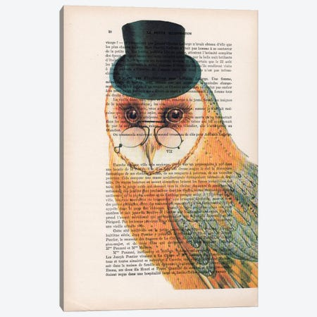 Owl Wit Hat Canvas Print #COC121} by Coco de Paris Canvas Art Print