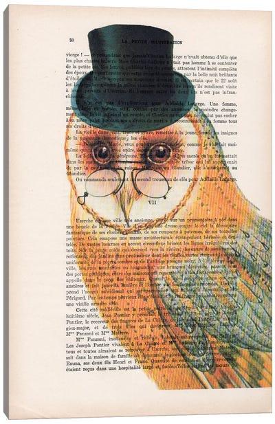 Vintage Paper Series: Owl Wit Hat Canvas Print #COC121