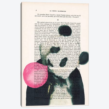 Panda With Bubblegum Canvas Print #COC123} by Coco de paris Art Print