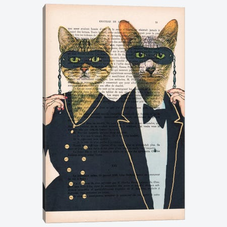 Party Cats Canvas Print #COC124} by Coco de Paris Canvas Art