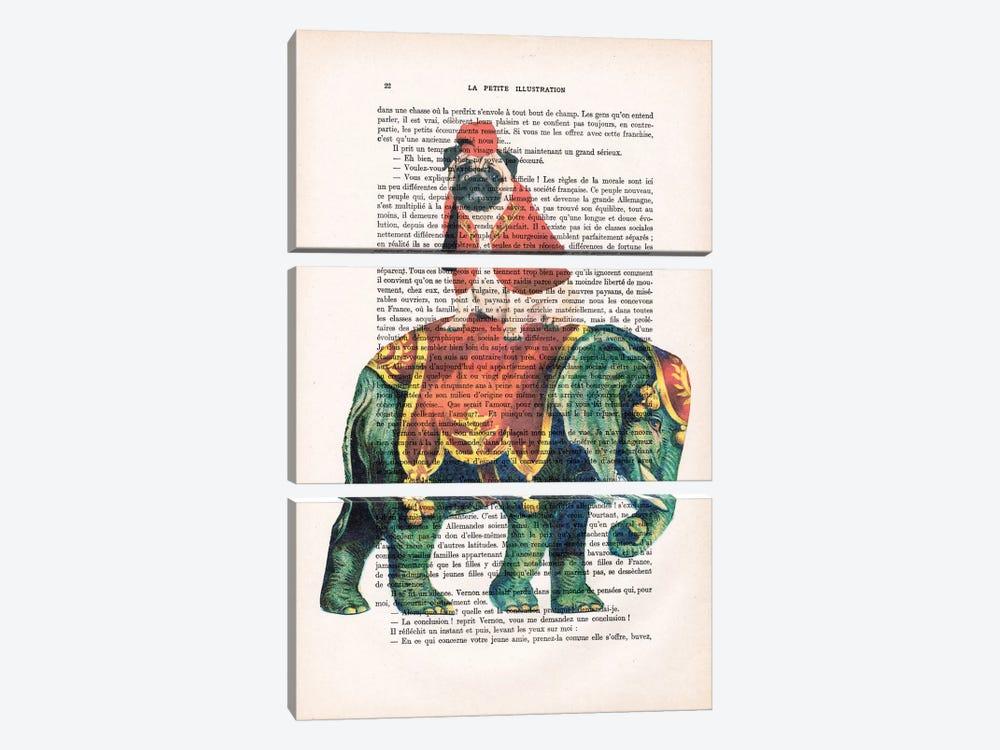 Pug On Elephant by Coco de Paris 3-piece Canvas Print