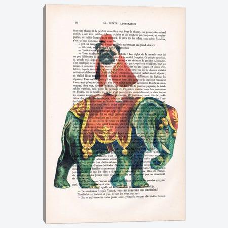 Pug On Elephant Canvas Print #COC127} by Coco de Paris Canvas Art
