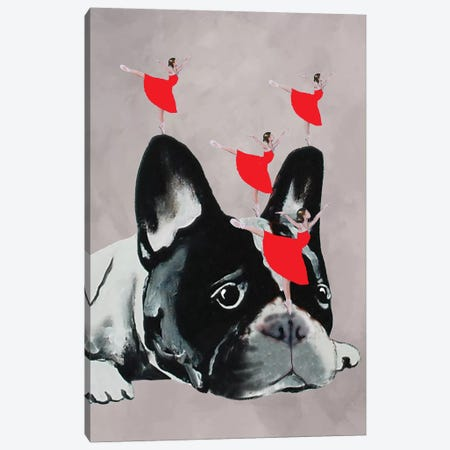 Bulldog With Dancers Canvas Print #COC12} by Coco de paris Canvas Print