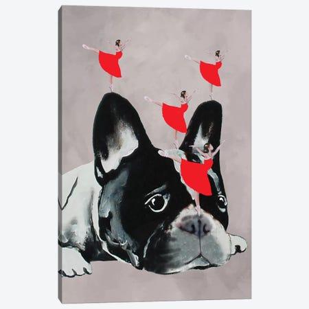 Bulldog With Dancers 3-Piece Canvas #COC12} by Coco de Paris Canvas Print