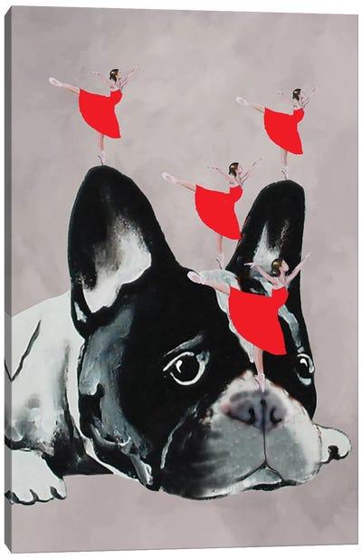 Bulldog With Dancers Canvas Art Print