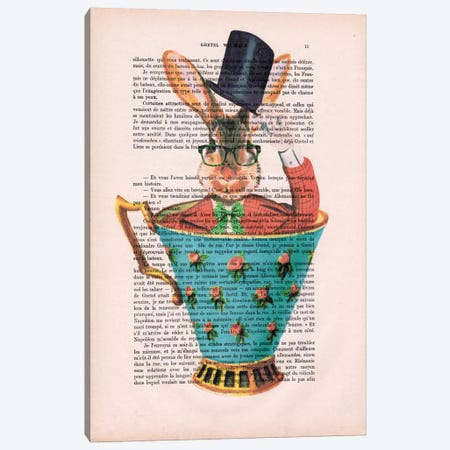 Rabbit With Hat In A Cup Canvas Print #COC130} by Coco de Paris Canvas Wall Art