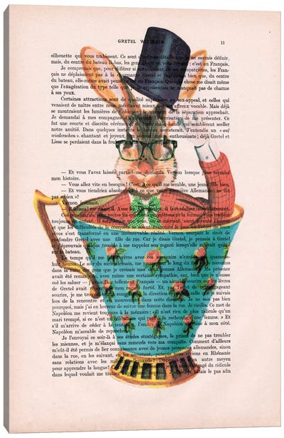 Vintage Paper Series: Rabbit With Hat In A Cup Canvas Print #COC130