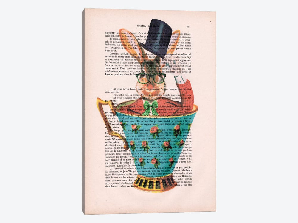 Rabbit With Hat In A Cup 1-piece Canvas Art Print