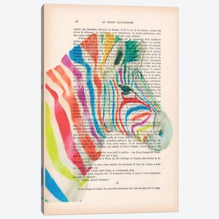 Rainbow Zebra I Canvas Print #COC131} by Coco de Paris Canvas Artwork