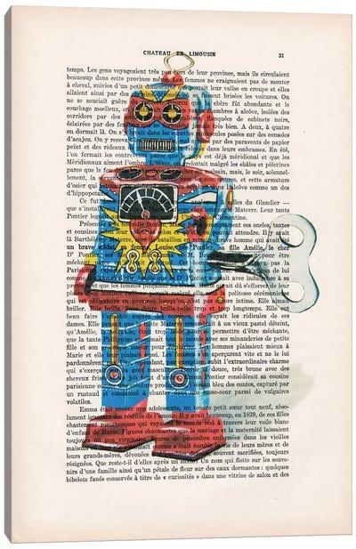 Vintage Paper Series: Robot I Canvas Print #COC132