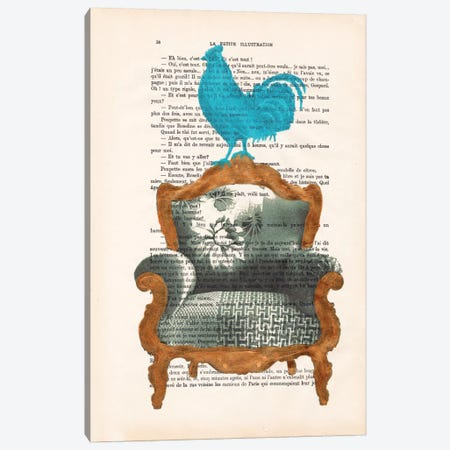 Rooster On Sofa Canvas Print #COC135} by Coco de Paris Canvas Print