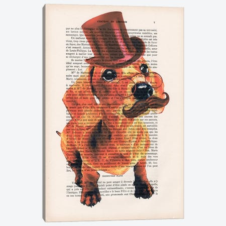 Sir Dachshund Canvas Print #COC137} by Coco de paris Art Print
