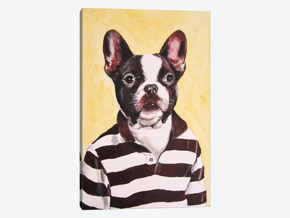 Bulldog With Stripy Shirt by Coco de Paris 1-piece Canvas Artwork