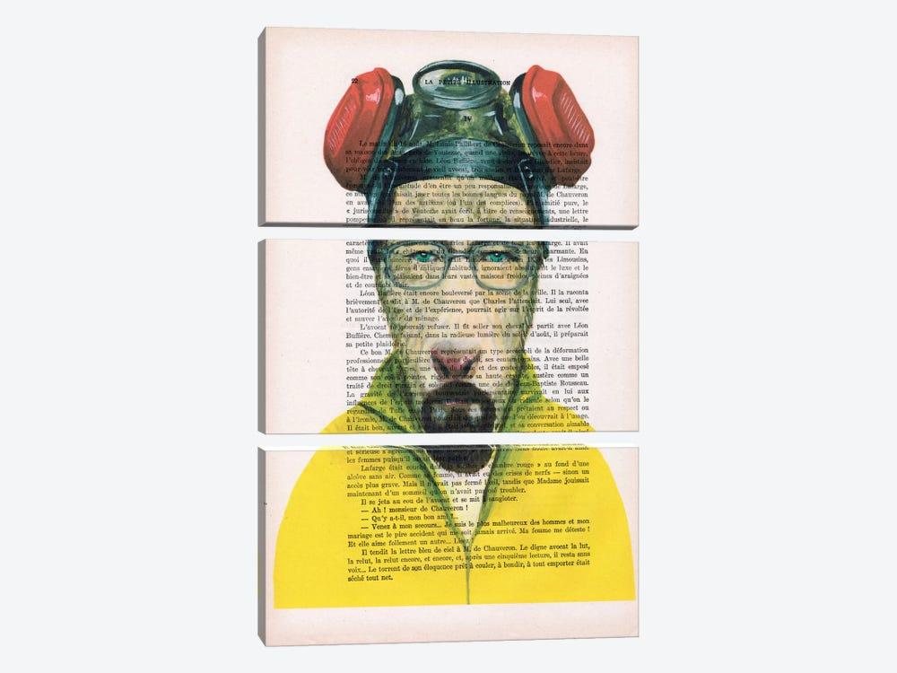 Walter White Goat, Text by Coco de Paris 3-piece Canvas Artwork