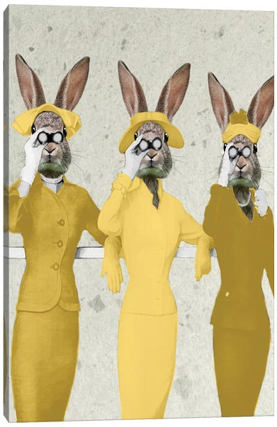 Vintage Rabbits Canvas Art Print