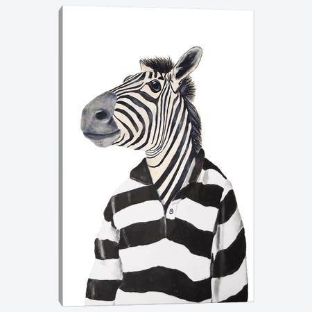 Zebra With Stripy Shirt Canvas Print #COC147} by Coco de Paris Canvas Wall Art