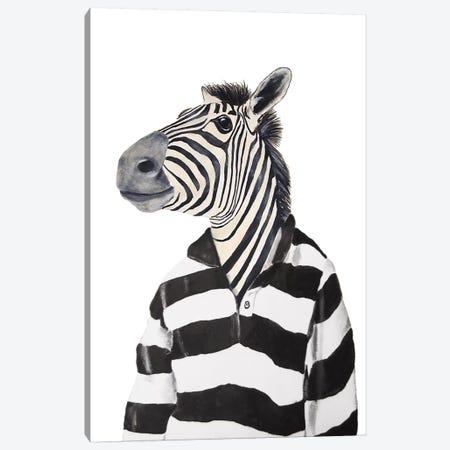 Zebra With Stripy Shirt Canvas Print #COC147} by Coco de Paris Canvas Wall Art