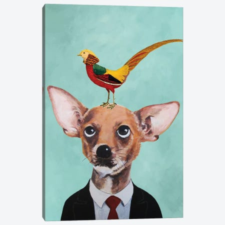 Chihuahua With Bird Canvas Print #COC148} by Coco de Paris Canvas Print