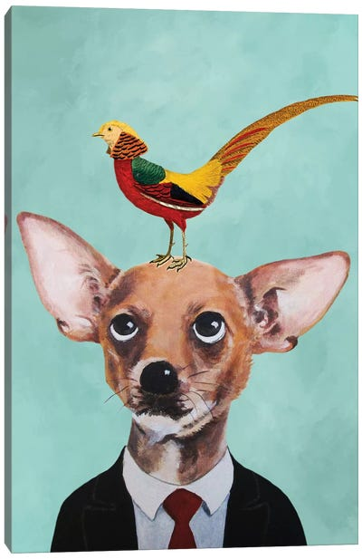 Chihuahua With Bird Canvas Art Print