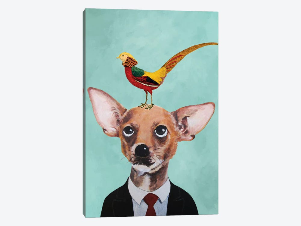 Chihuahua With Bird 1-piece Canvas Art