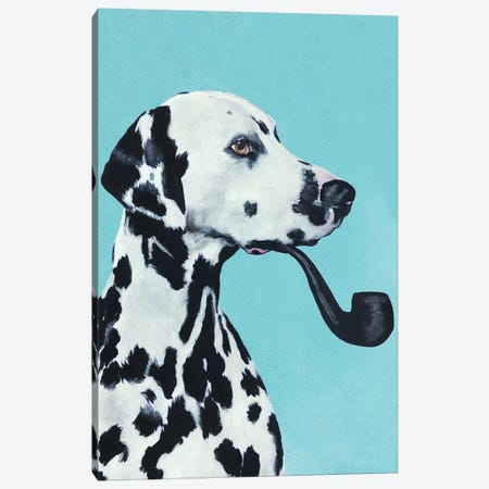 Dalmatian Smoking Pipe Canvas Print #COC151} by Coco de paris Canvas Artwork