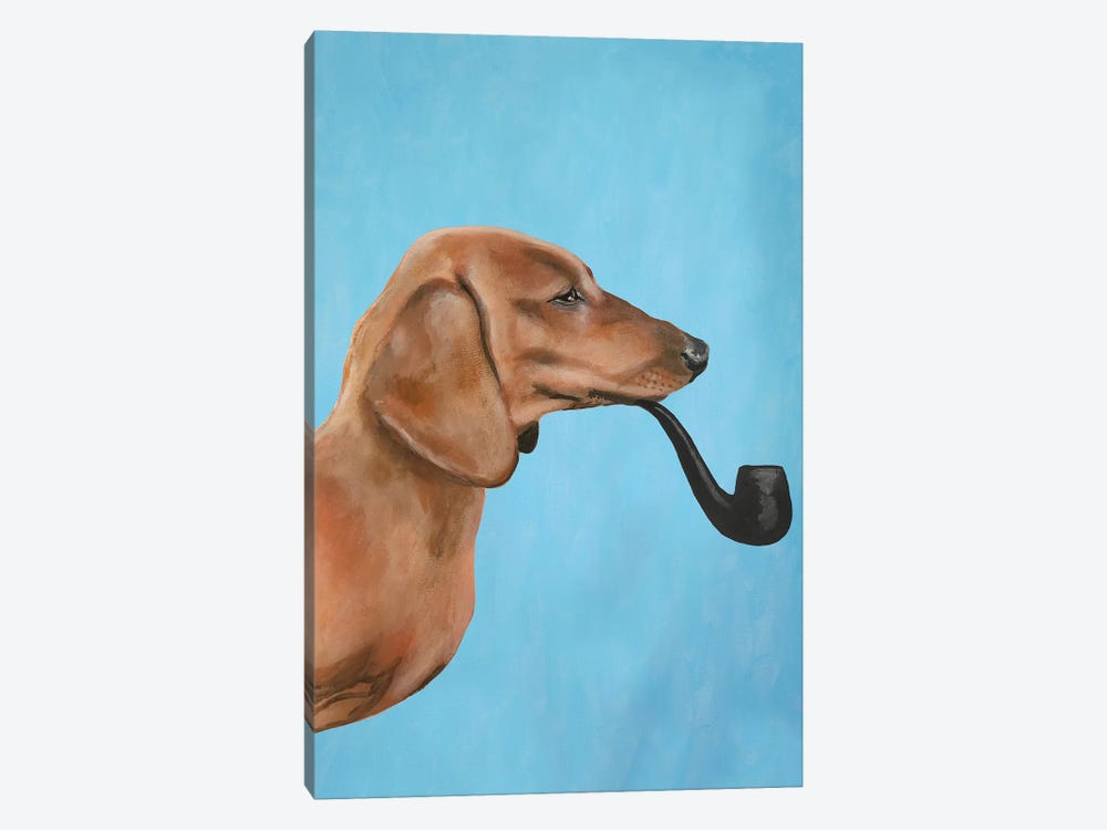 Dachshund Smoking Pipe by Coco de paris 1-piece Canvas Wall Art