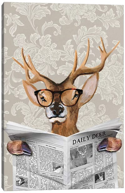Deer Reading Newspaper Canvas Art Print