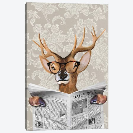 Deer Reading Newspaper Canvas Print #COC154} by Coco de Paris Canvas Art Print