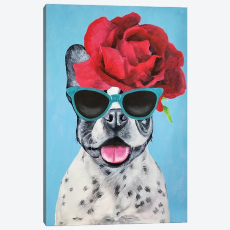 Fashion Bulldog Blue Canvas Print #COC155} by Coco de paris Canvas Art Print