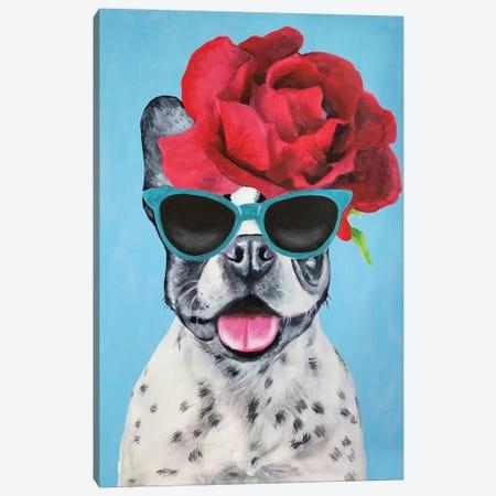 Fashion Bulldog Blue Canvas Print #COC155} by Coco de Paris Canvas Art Print