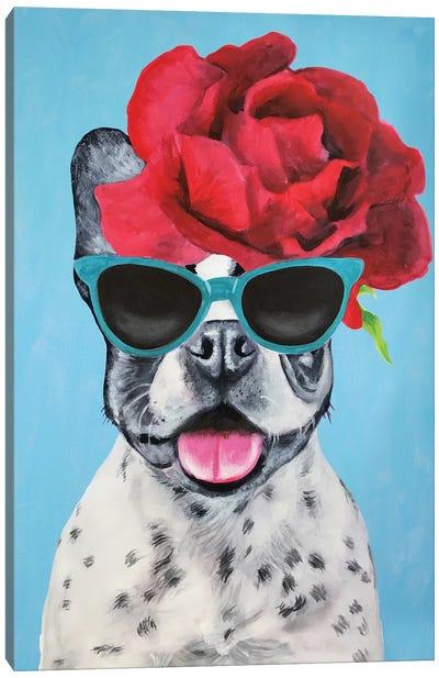 Fashion Bulldog Blue Canvas Art Print